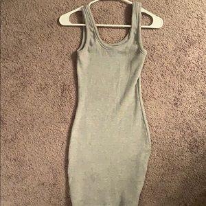 Gray ribbed tank top dress